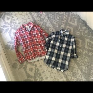 Lot 2 Button Up Plaid Shirt Abercrombie & Fitch AE
